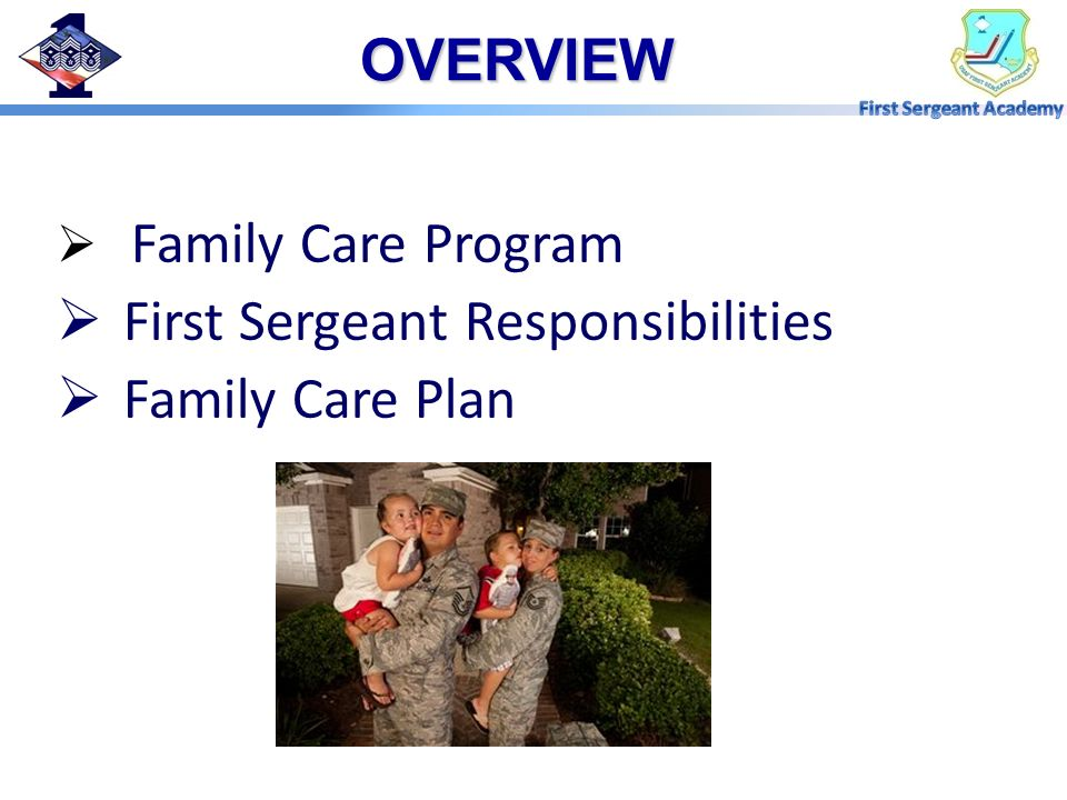 First Sergeant Responsibilities Family Care Plan