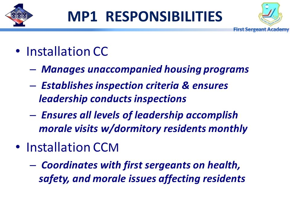 MP1 RESPONSIBILITIES Installation CC Installation CCM