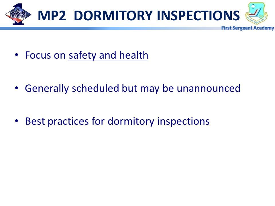 MP2 DORMITORY INSPECTIONS