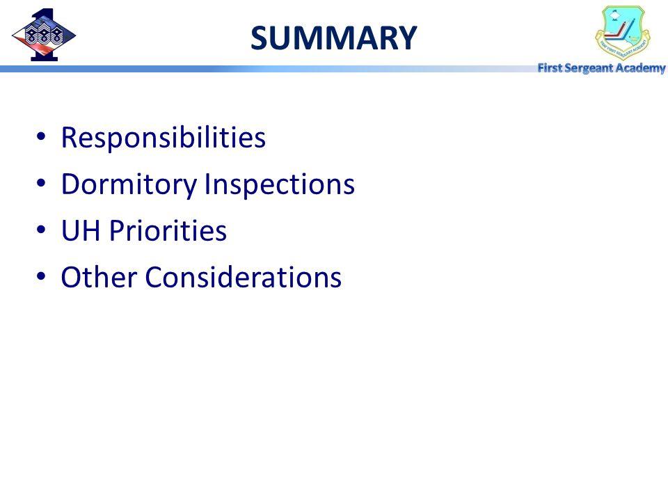 SUMMARY Responsibilities Dormitory Inspections UH Priorities