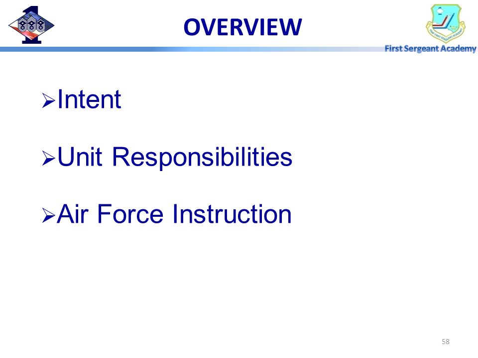 OVERVIEW Intent Unit Responsibilities Air Force Instruction