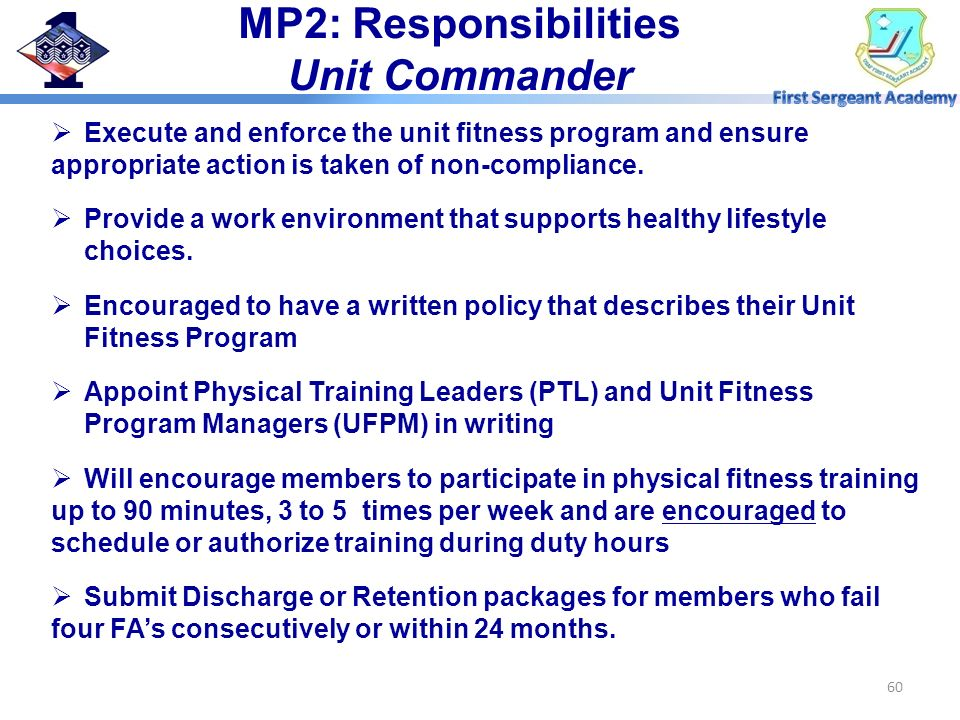 MP2: Responsibilities Unit Commander