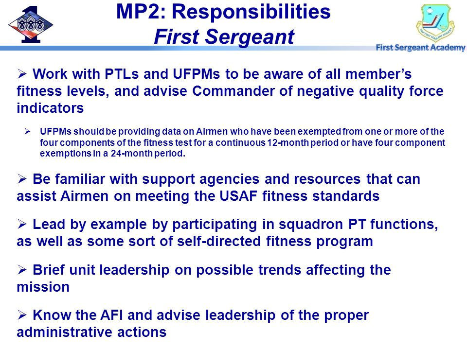 MP2: Responsibilities First Sergeant