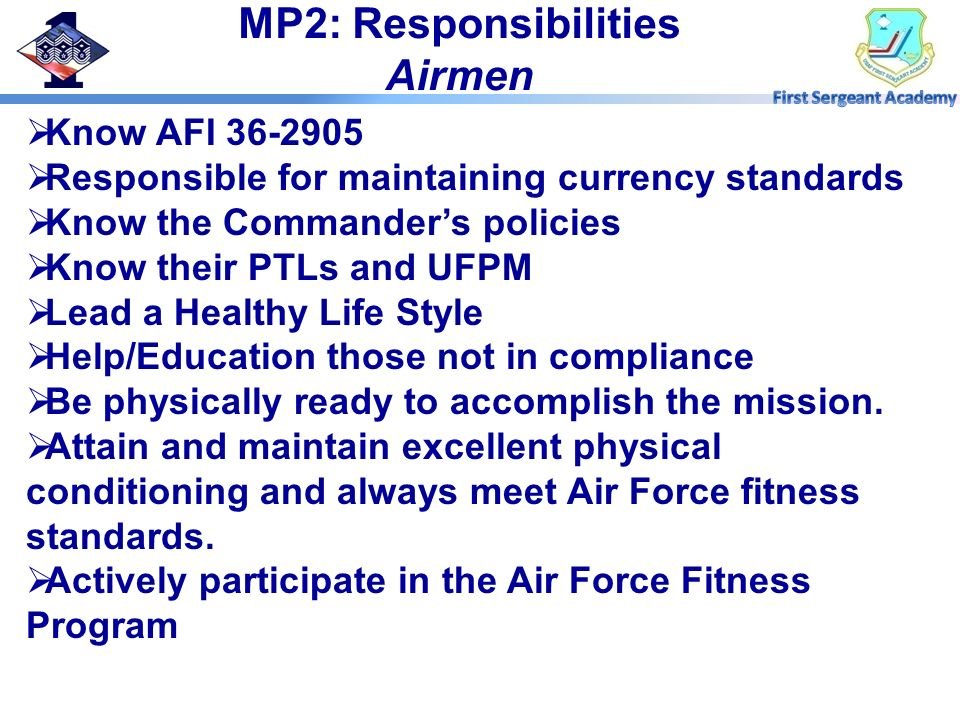 MP2: Responsibilities Airmen
