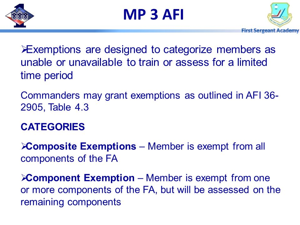 MP 3 AFI Exemptions are designed to categorize members as unable or unavailable to train or assess for a limited time period.