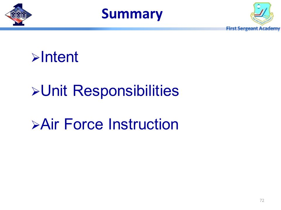Summary Intent Unit Responsibilities Air Force Instruction