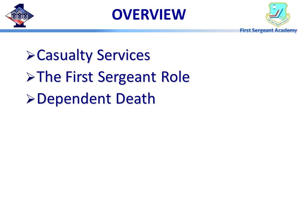 OVERVIEW Casualty Services The First Sergeant Role Dependent Death