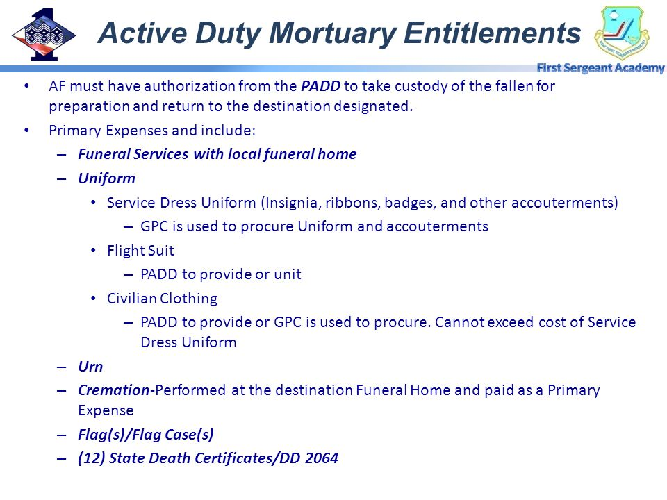 Active Duty Mortuary Entitlements