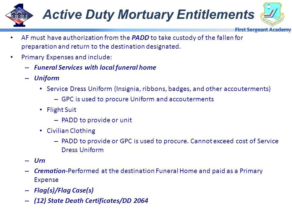 Active Duty Mortuary Entitlements