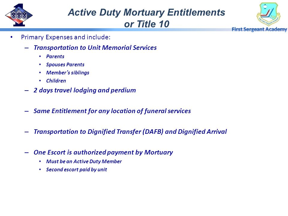 Active Duty Mortuary Entitlements or Title 10