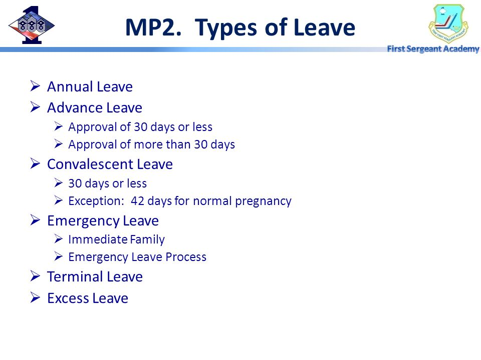 MP2. Types of Leave Annual Leave Advance Leave Convalescent Leave