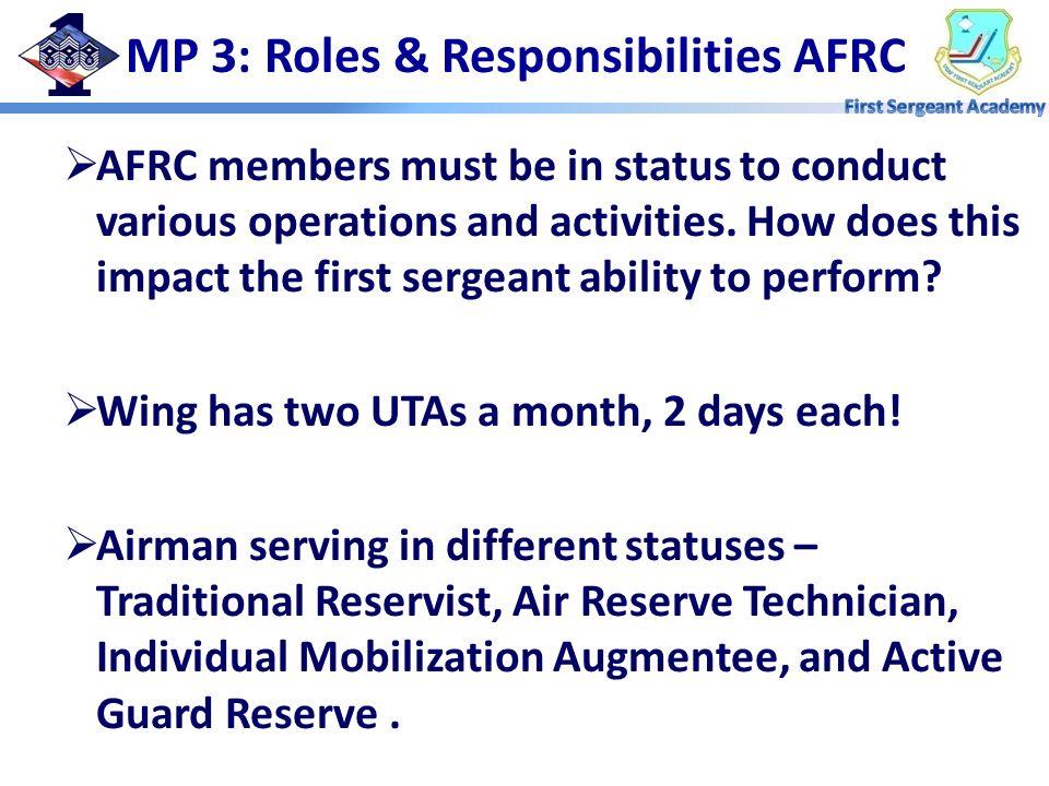 MP 3: Roles & Responsibilities AFRC