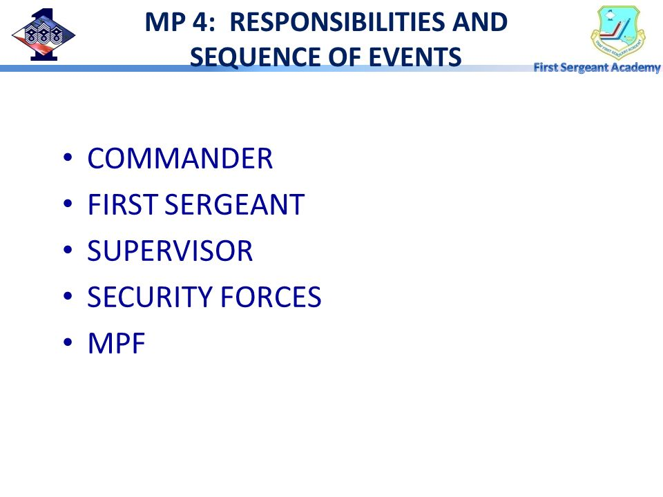 MP 4: RESPONSIBILITIES AND SEQUENCE OF EVENTS