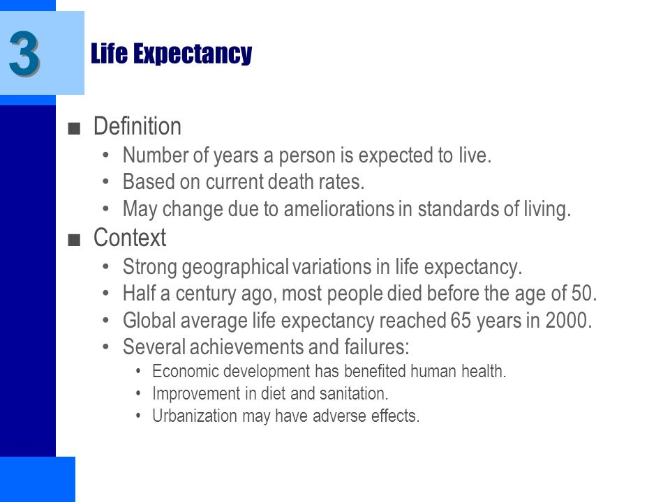 3 Life Expectancy Definition Context