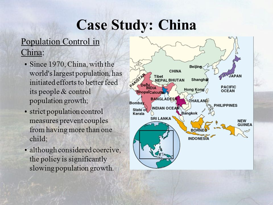 """chinas population control cast study Case study: corridors part 1 1 haddad and colleagues conclude that """"in our study, we lack data on population viability and genetic diversity."""