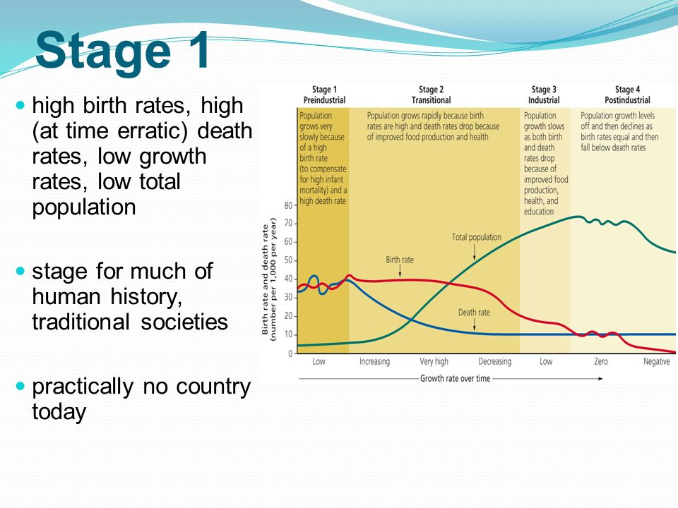 Stage 1 high birth rates, high (at time erratic) death rates, low growth rates, low total population.