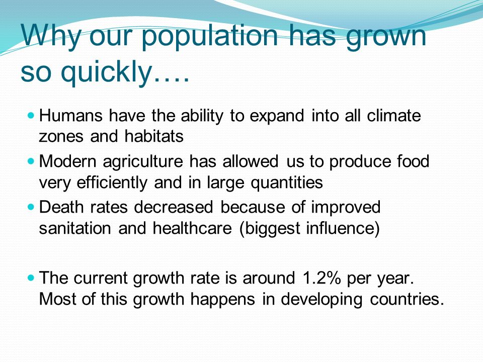 Why our population has grown so quickly….