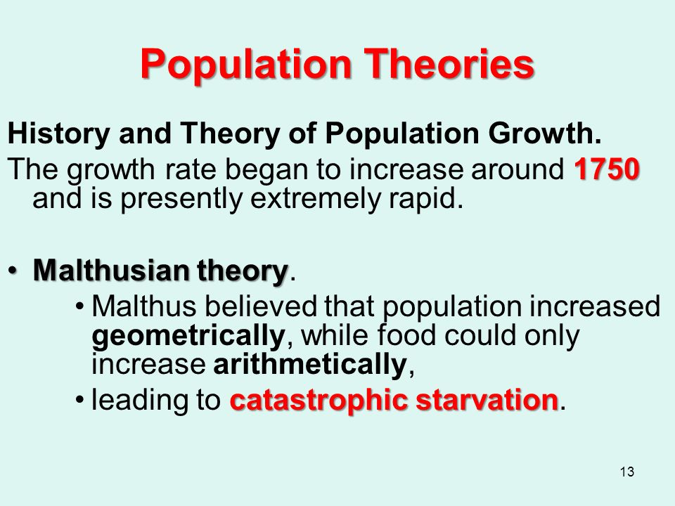 population urbanization and ecology ppt video online 13 population theories