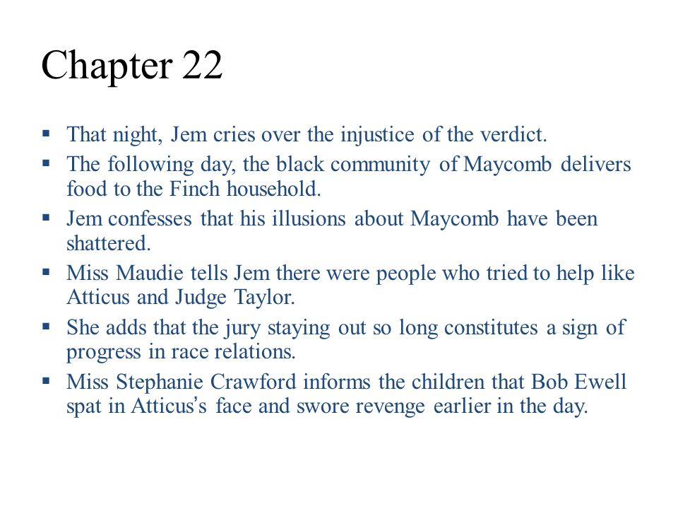 Chapter 7 Summary To Kill A Mockingbird