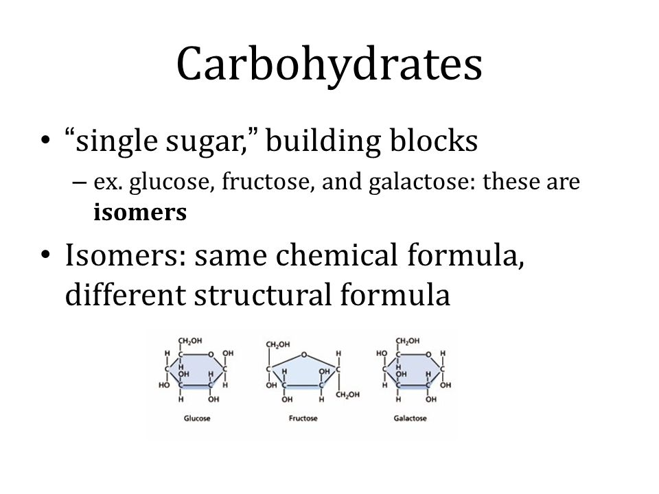 Carbohydrates single sugar, building blocks