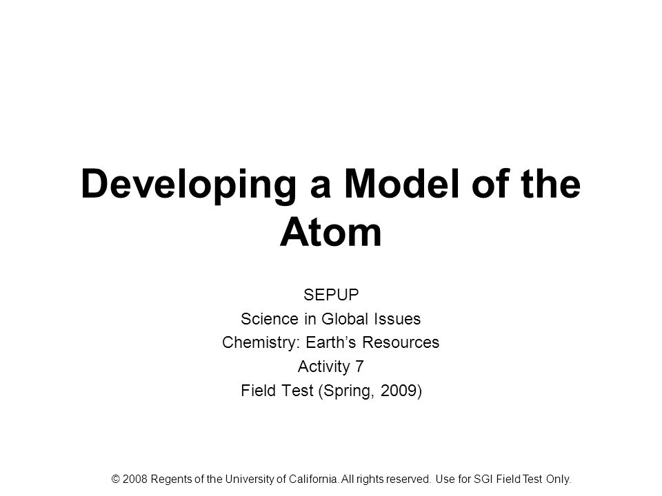 Developing a Model of the Atom