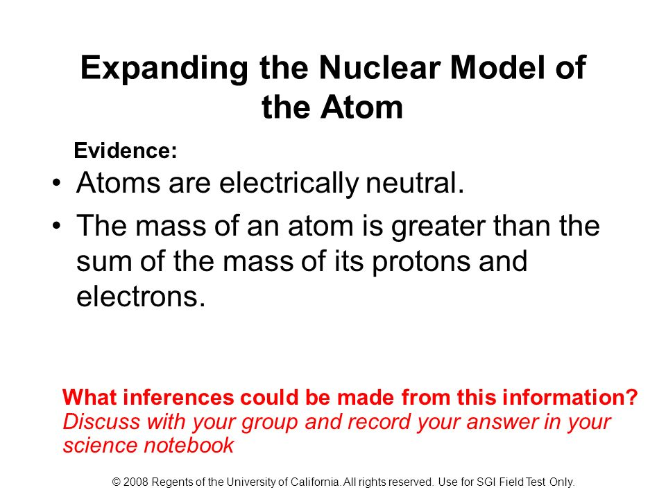 Expanding the Nuclear Model of the Atom