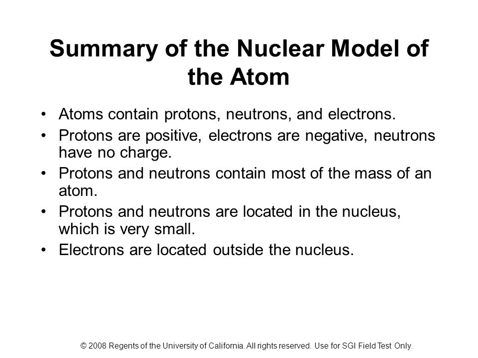 Summary of the Nuclear Model of the Atom