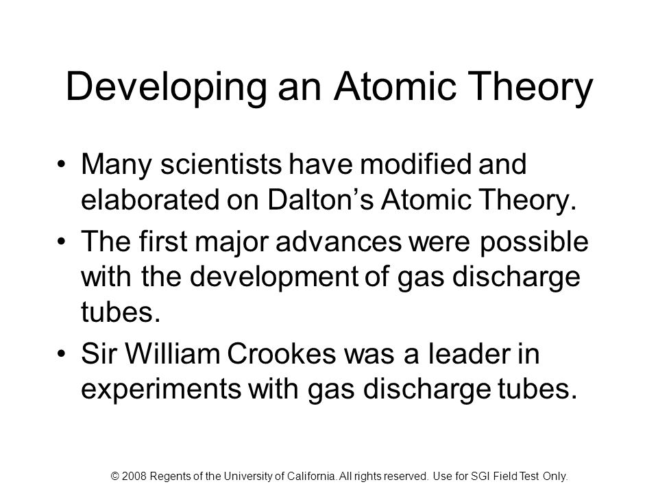 Developing an Atomic Theory
