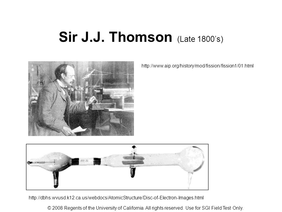 Sir J.J. Thomson (Late 1800's)