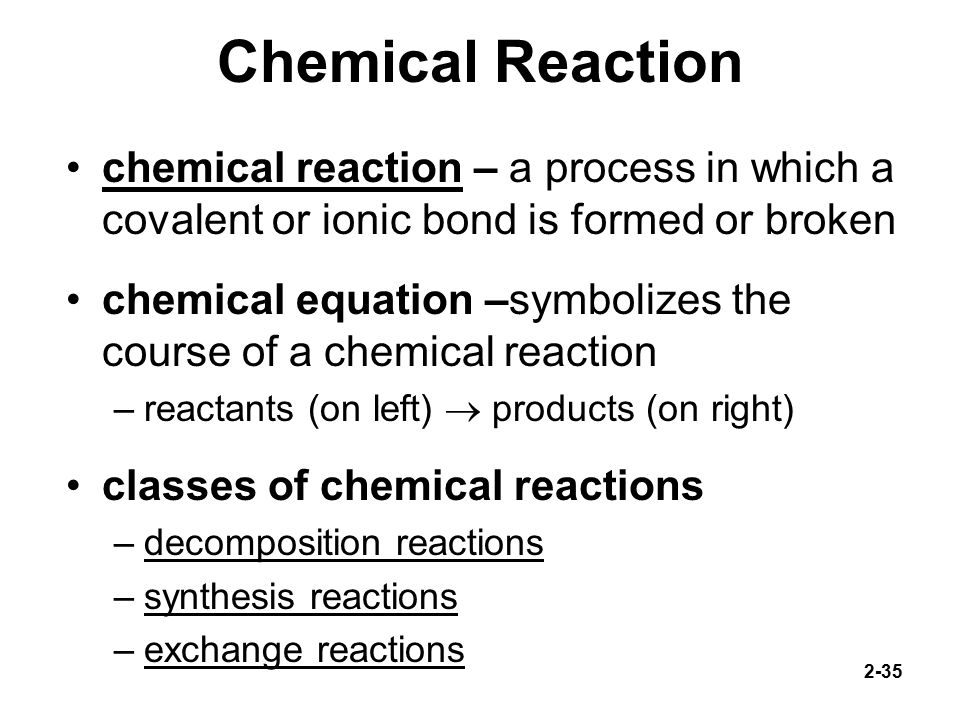 an analysis of the chemical reactions and the decomposition process Decomposition reactions are the opposite of synthesis, in which a substance decomposes into simpler components decomposition reactions often involve the use of heat decomposition reactions are often used in analysis, like when removing oxygen or water of hydration examples.