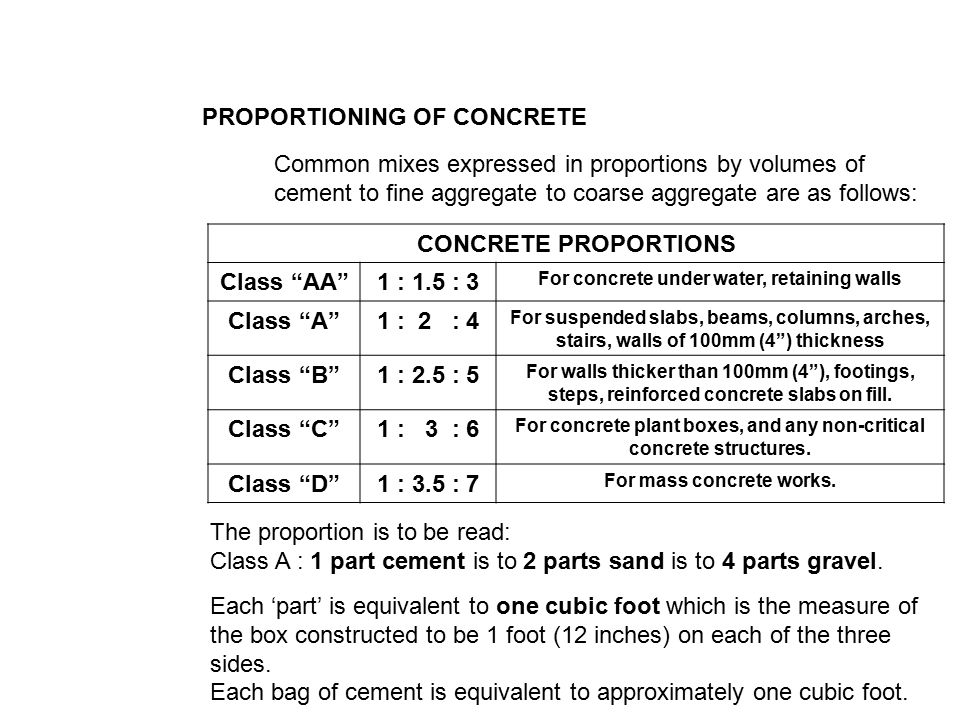 Concrete Concrete Is A Proportioned Mixture Of Cement