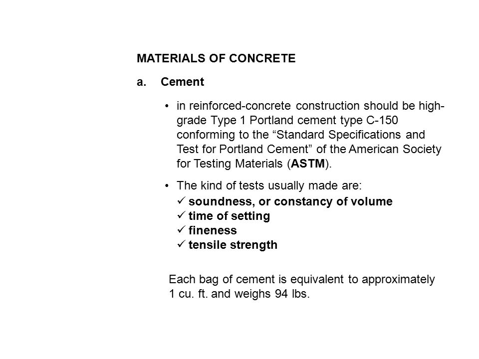 94 Lbs Bag Of Cement : Concrete is a proportioned mixture of cement