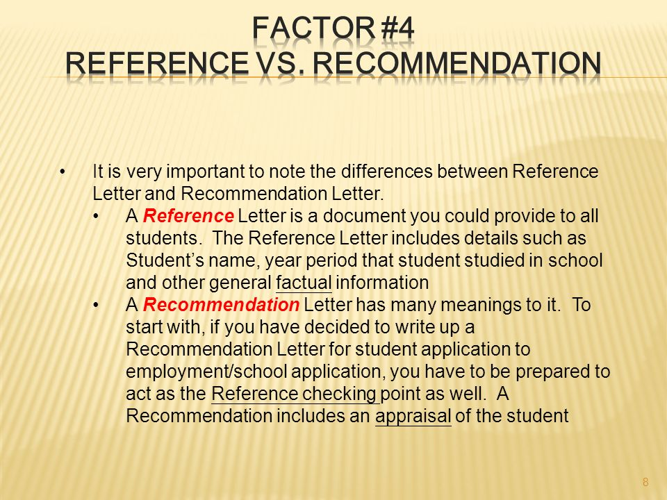 difference between letter of recommendation and reference
