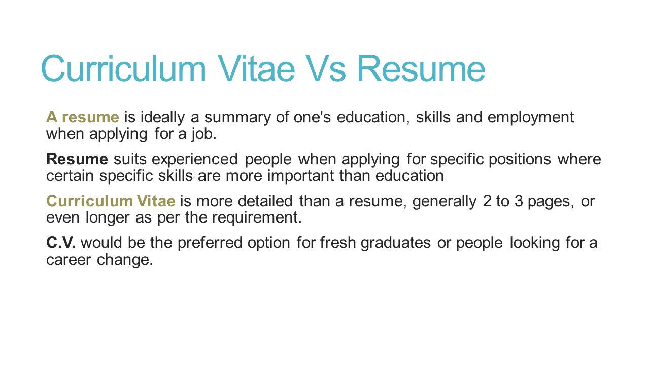 curriculum vitae and covering letter lecture