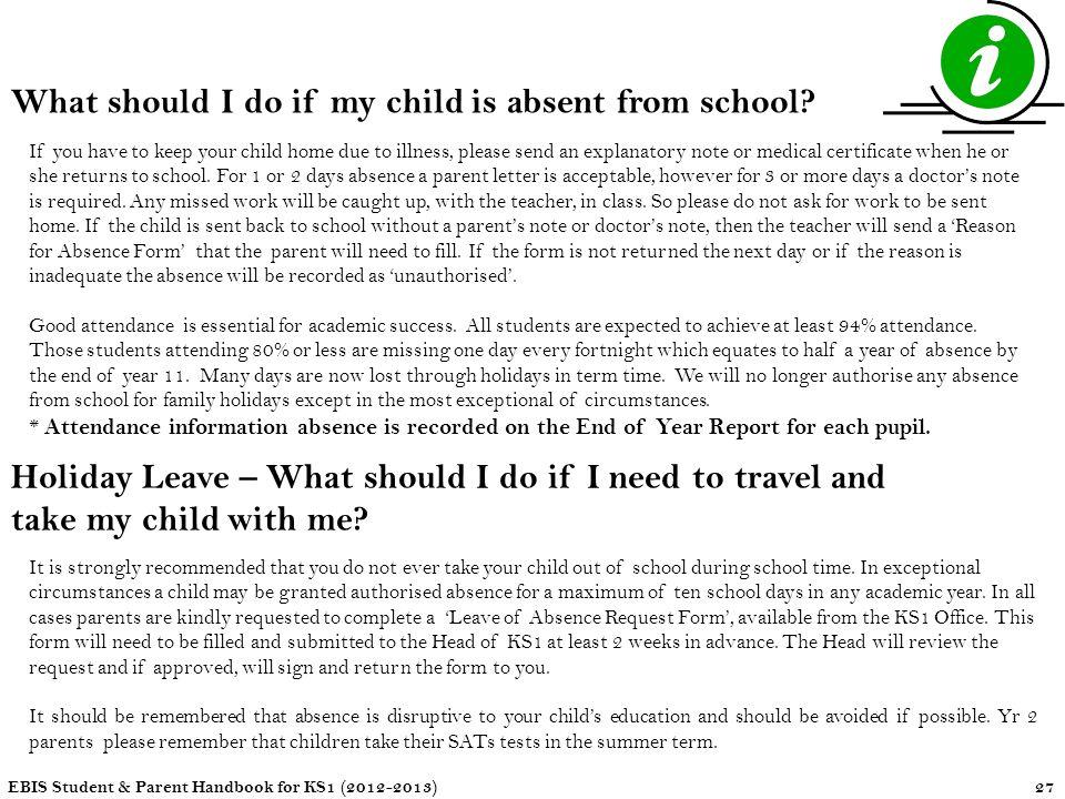 child absence letter