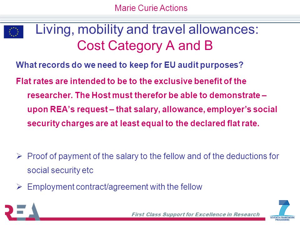 Living, mobility and travel allowances: Cost Category A and B