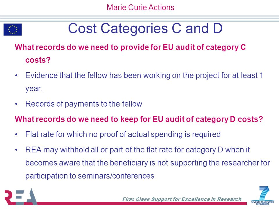 Cost Categories C and D Marie Curie Actions