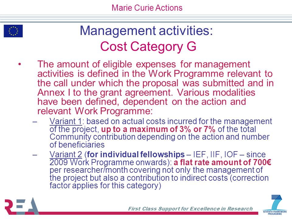 Management activities: Cost Category G