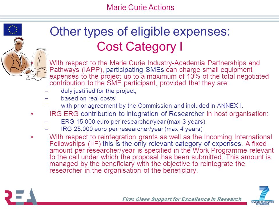 Other types of eligible expenses: Cost Category I