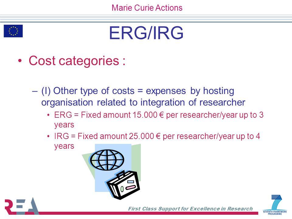 ERG/IRG Cost categories :