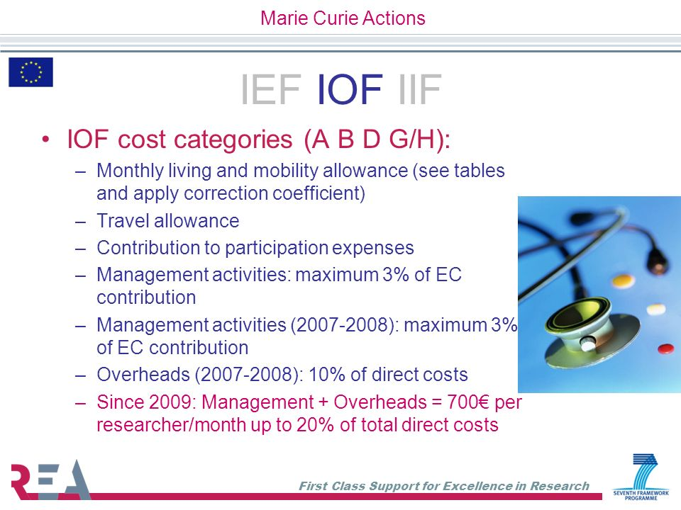IEF IOF IIF IOF cost categories (A B D G/H): Marie Curie Actions
