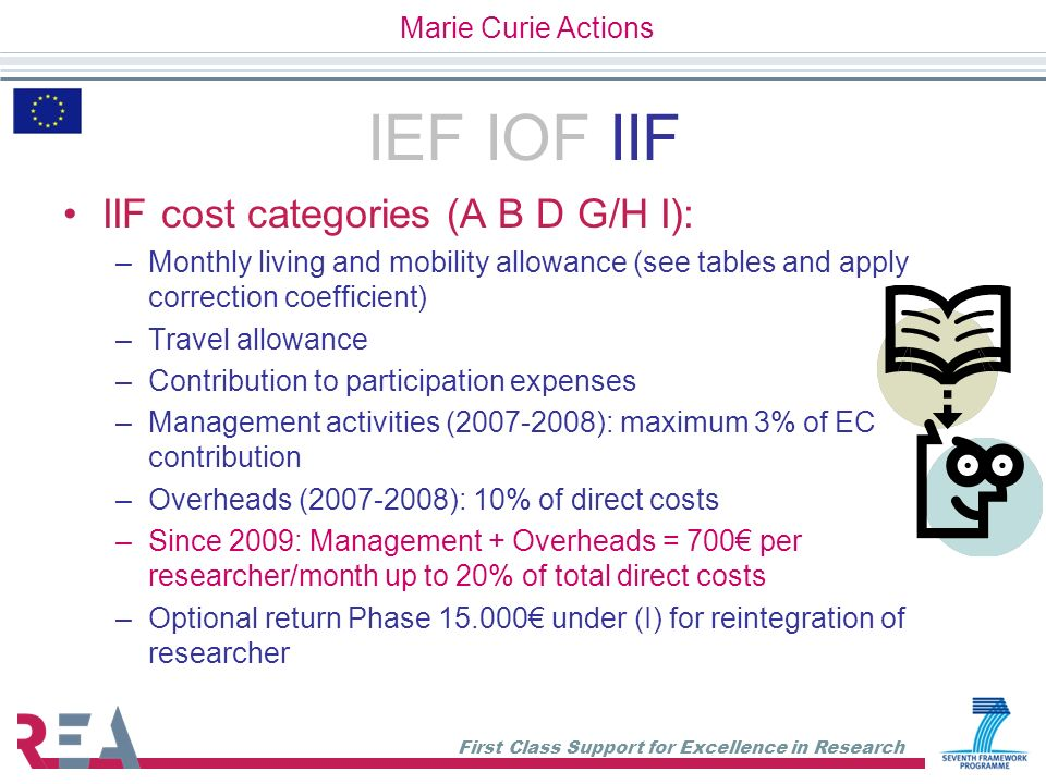IEF IOF IIF IIF cost categories (A B D G/H I): Marie Curie Actions