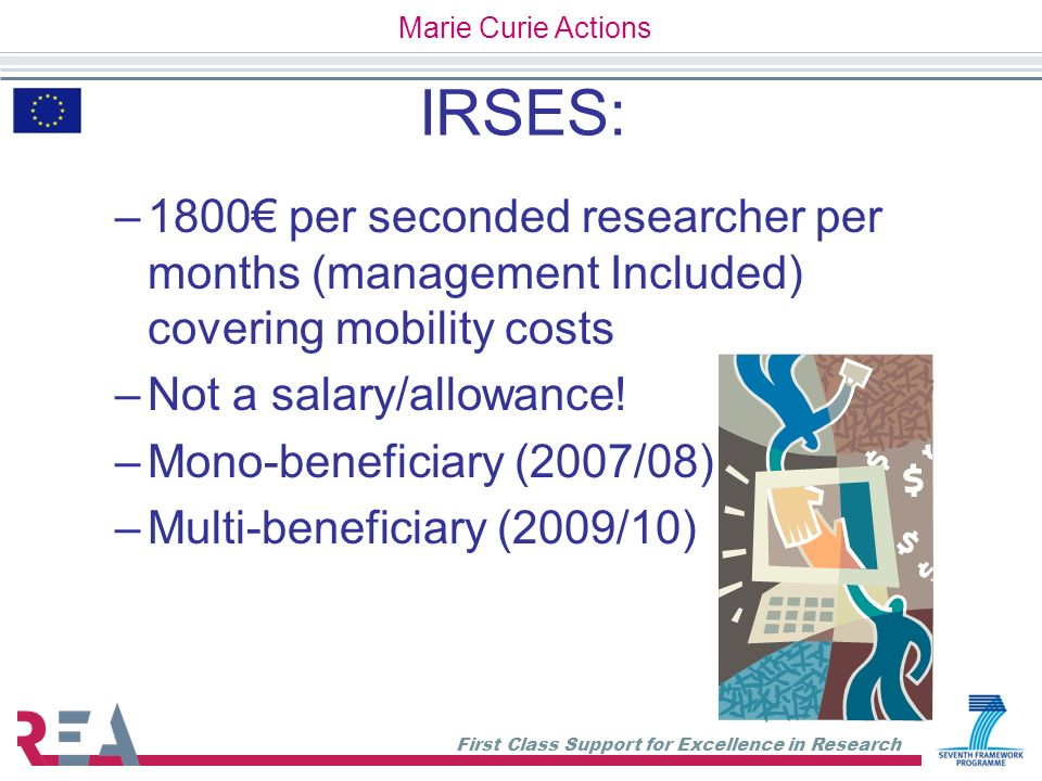 Marie Curie Actions IRSES: 1800€ per seconded researcher per months (management Included) covering mobility costs.