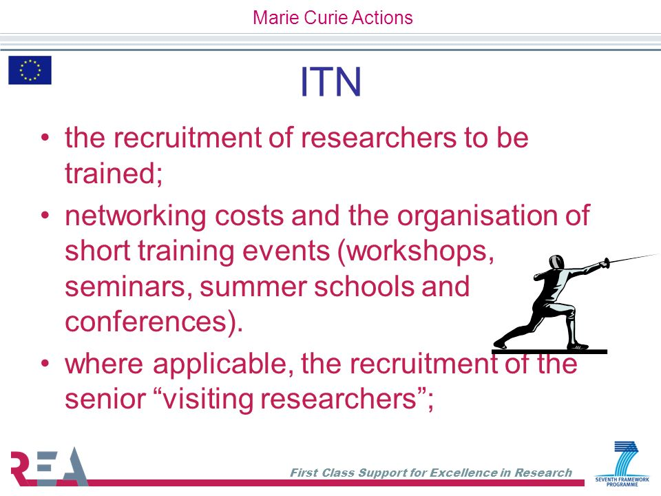 ITN the recruitment of researchers to be trained;