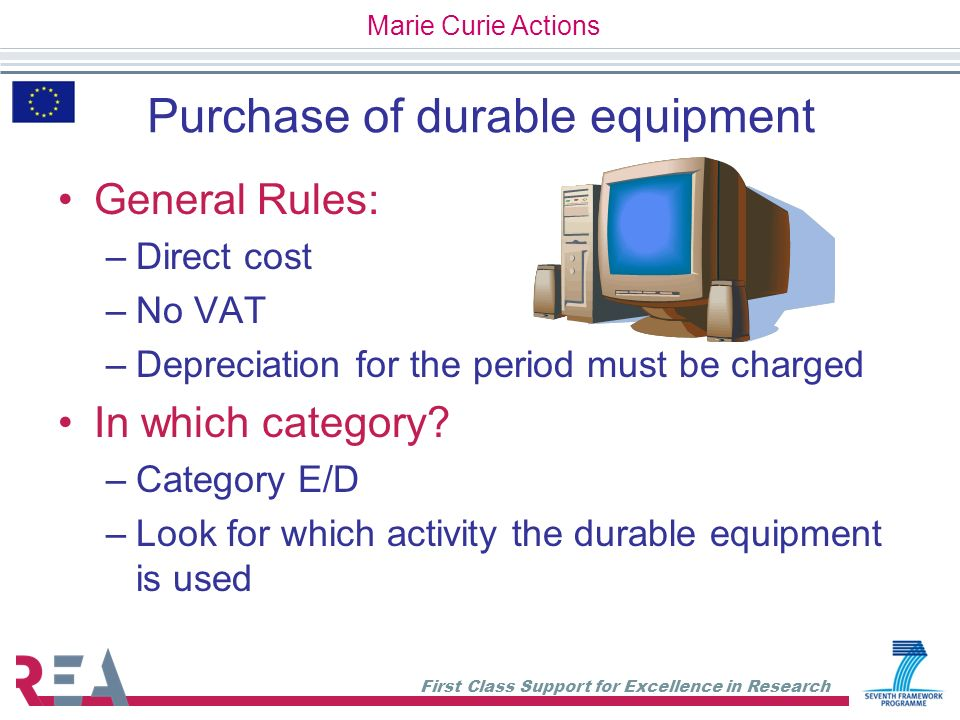 Purchase of durable equipment