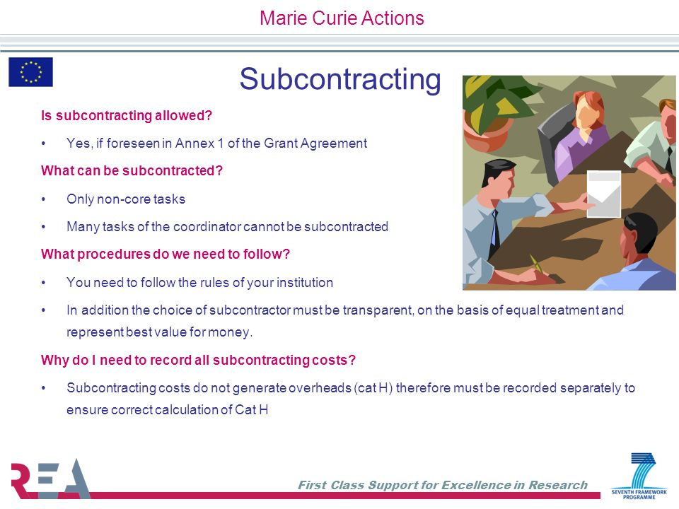 Subcontracting Marie Curie Actions Is subcontracting allowed