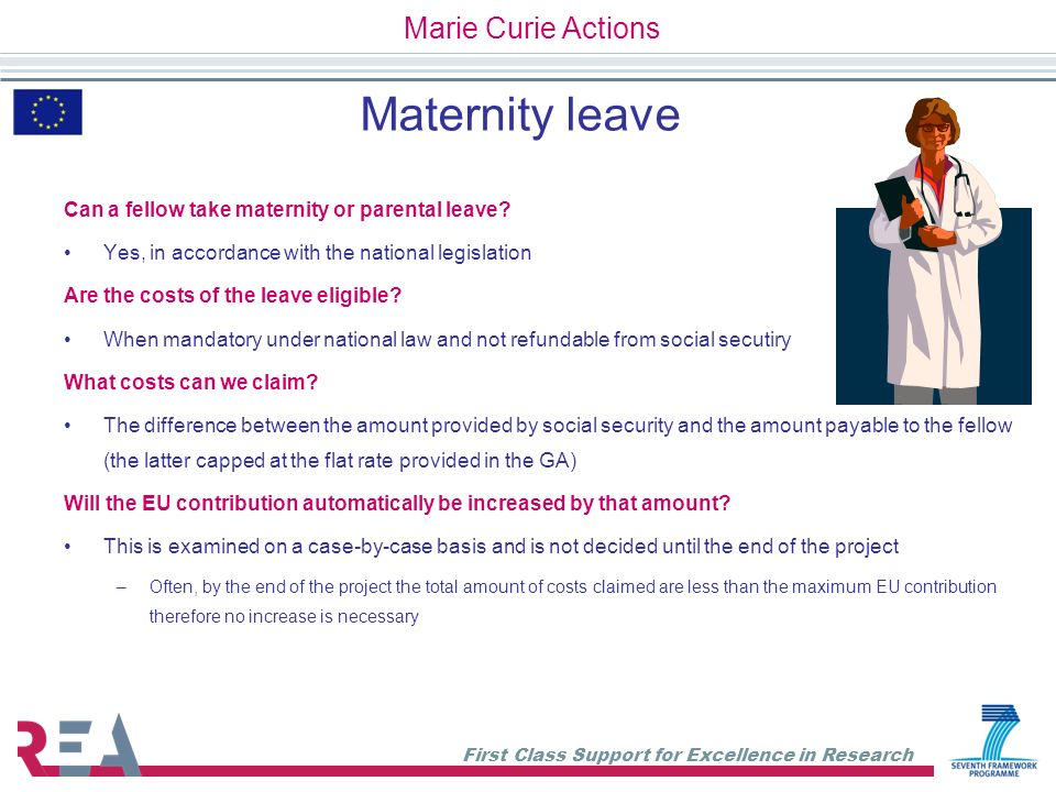 Maternity leave Marie Curie Actions