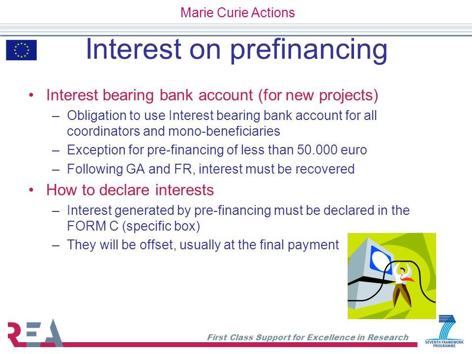 Interest on prefinancing