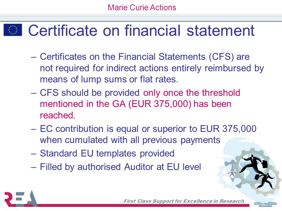 Certificate on financial statement