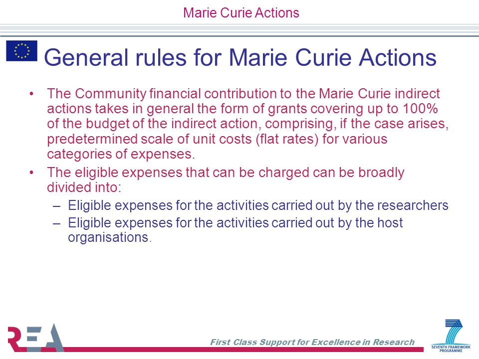 General rules for Marie Curie Actions
